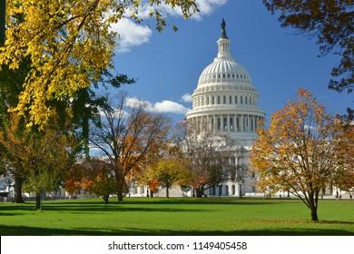 United States Capitol in autumn colors - Washington DC United States of America