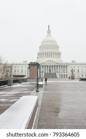 United States Capitol in the blizzard - Washington DC USA