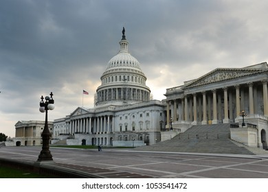 United States Capitol Building in a cloudy dramatic spring day - Washington DC USA