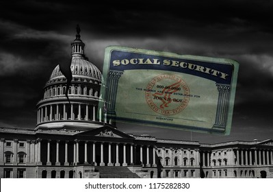 The United States capitol building with a crack in the dome and Social Security card