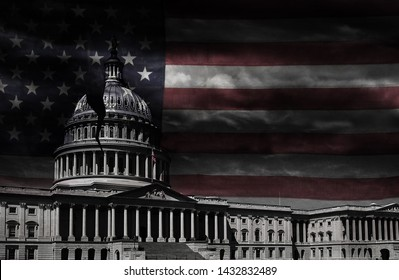 The United States capitol building with a crack in the dome and faded flag-- corruption or broken politics concept