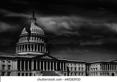 The United States capitol building with a crack in the dome -- corruption or broken politics concept