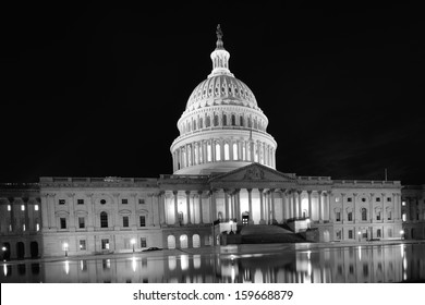 United States Capitol Building East facade at night - Black and White