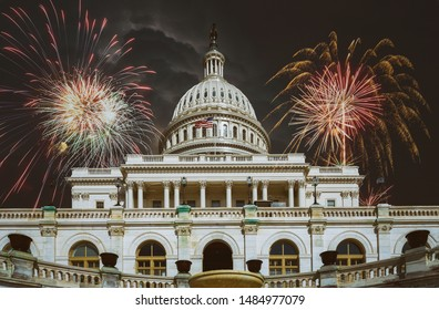 United States Capitol Building Fireworks in Washington, DC july 4th