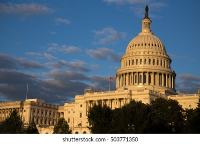 United States Capitol Building in golden sunlight