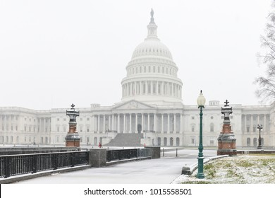 United States Capitol Building in heavy snow - Washington DC, United States of America