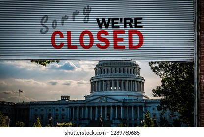 United States Capitol Building with a Old grunge weathered and dirty steel metal roller shutter door with Sorry we're closed text. USA shutdown and government closed concept