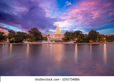 The United States Capitol building in Washington DC, sunrise