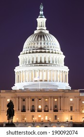 The United States Capitol building in Washington DC, USA - night scene