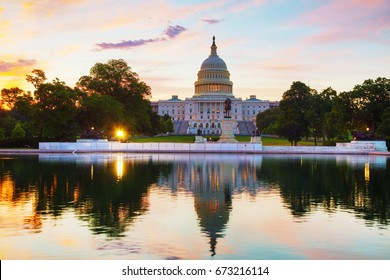 United States Capitol building in Washington, DC at sunrise