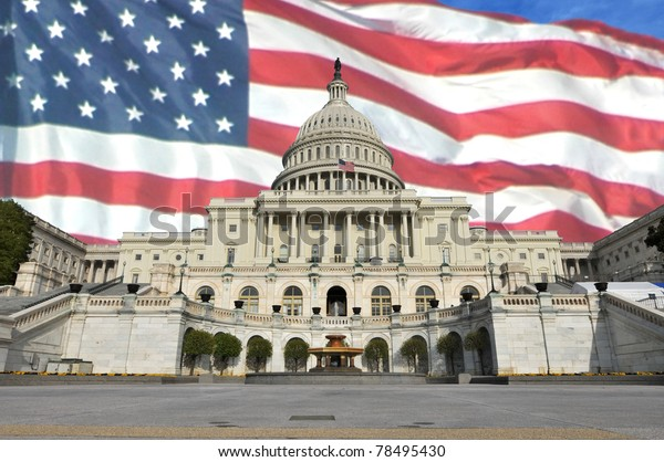 United States Capitol building in Washington, DC with the U.S. flag in the background