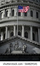 United States Capitol Building in Whashington DC with Flag