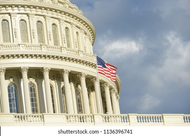 United States Capitol dome in clouds - Washington D.C. United States of America