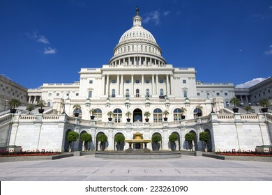 United States Capitol, Government in Washington, D.C., United States of America. Blue Sky behind.