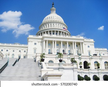United States Capitol Hill Congress building in Washington DC National Mall area, view on sunny bright summer day scene with empty blue sky background Famous american landmark located in US capital