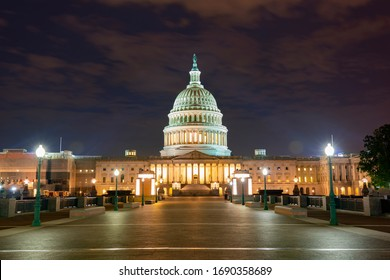 The United States Capitol at night, often called the Capitol Building, is the home of the United States Congress and the legislative branch of the U.S. federal government. Washington, United States.