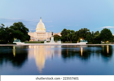 The United States Capitol, seen from the the Capitol Reflecting Pool, Washington DC, USA.