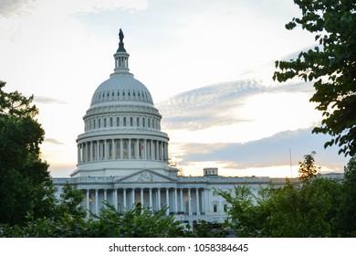 United States Capitol at sunset-Washington DC USA