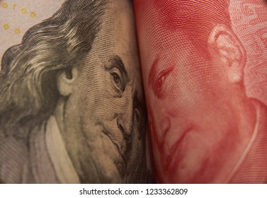 The United States and China are facing their heads in a trade standoff. Trade war. World crisis issue. Geopolitics.