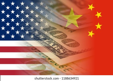 united states and china flags with dollars banknotes mixed image