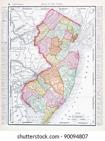 UNITED STATES - CIRCA 1895:  A map printed in the United States shows the State of New Jersey, circa 1895.