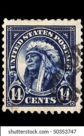 UNITED STATES - CIRCA 1920's : A stamp printed in United States. Portrait of American Indian wearing native headdress. United States - circa 1920's