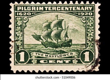 UNITED STATES - CIRCA 1920's : A stamp printed in United States. Mayflower crossing the Atlantic on its way to Plymouth, Massachusetts. United States - CIRCA 1920's