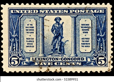 UNITED STATES - CIRCA 1920's : A stamp printed in United States.The American revolution the battle of Lexington-Concord.  United States - CIRCA 1920's