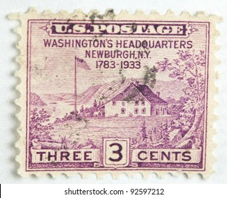 UNITED STATES - CIRCA 1933 : A stamp printed in United States. Displays the image of Washington's Headquarters at Newburgh, NY. United States - circa 1933