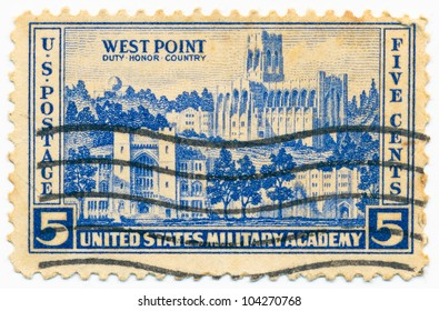 UNITED STATES - CIRCA 1936: A stamp printed in the United States, shows U.S. Military Academy, West Point, circa 1936