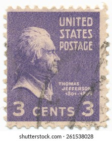 UNITED STATES - CIRCA 1937: A stamp printed in the United States, shows portrait of Thomas Jefferson (1743-1826) the third President of the United States, circa 1937