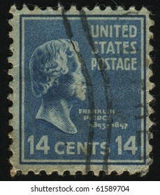 UNITED STATES - CIRCA 1937: stamp printed by United states, shows President Franklin Pierce, circa 1937
