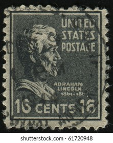 UNITED STATES - CIRCA 1937: stamp printed by United states, shows President Abraham Lincoln, circa 1937