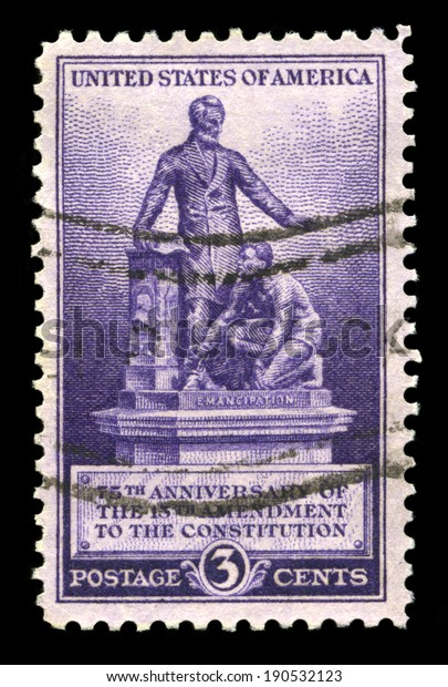 UNITED STATES, CIRCA 1940: A United States Postage Stamp commemorating the 75th Anniversary of the 13th Amendment to the Constitution (the abolition of Slavery), circa 1940.