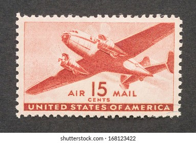 UNITED STATES - CIRCA 1941: a postage stamp printed in USA showing an image of a twin-motored airplane, circa 1941.
