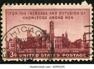 "UNITED STATES - CIRCA 1946: Depicting , with inscription ""For the Increase and Diffusion of Knowledge among Men"" and ""1846 Smithsonian Institution 1946"", color marroon, face value 3 cents, circa 1946"