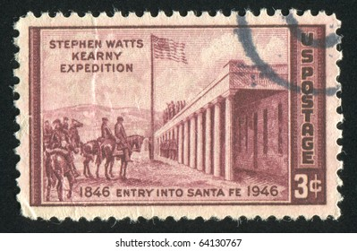 UNITED STATES - CIRCA 1946: stamp printed in United states, shows Capture of Santa Fe by Kenneth Chapman, circa 1946