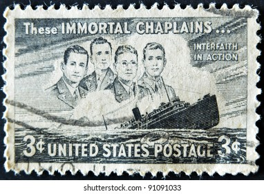 """UNITED STATES - CIRCA 1947: depicting SS Dorchester sinking, inscripted """"These Immortal Chaplains..."""" & """"Interfaith in Action"""", circa 1947"""