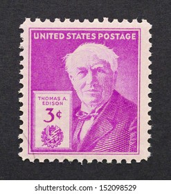 UNITED STATES - CIRCA 1947: a postage stamp printed in USA showing an image of Thomas Alva Edison, circa 1947.