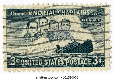 UNITED STATES - CIRCA 1948: A stamp printed in the United States, shows a Four Chaplains and Sinking S.S. Dorchester, circa 1948