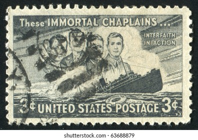 UNITED STATES - CIRCA 1948: stamp printed in United states, shows Four Chaplains and Sinking S.S. Dorchester, circa 1948