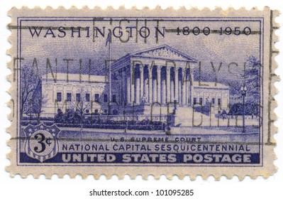 UNITED STATES - CIRCA 1950: A postage stamp of the printed in the United States, shows the building Supreme Court and inscription National capital sesquicentennial in Washington, circa 1950