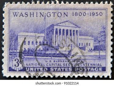 UNITED STATES - CIRCA 1950: stamp printed in USA, shows Supreme Court Building, Washington 1800 - 1950, circa 1950