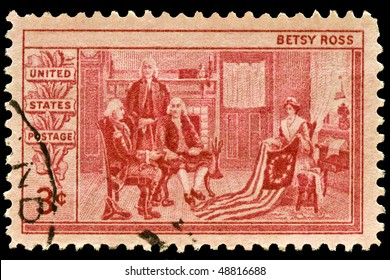 UNITED STATES - Circa 1950's : A stamp printed in United States. Betsy Ross showing the flag for the United States to George Washington, Robert Morris and George Ross. circa 1950's