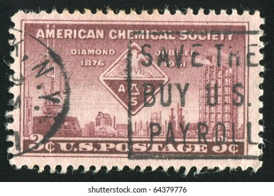 UNITED STATES - CIRCA 1951: stamp printed by United states, shows A.C.S. Emblem and Symbols of Chemistry, circa 1951