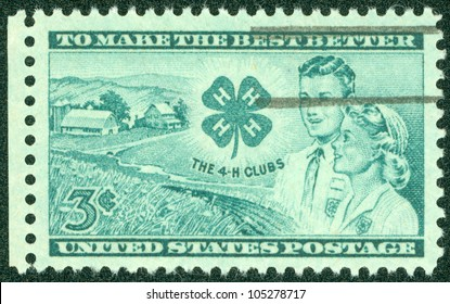 UNITED STATES - CIRCA 1952: A stamp printed in the United States, shows Farm, Club Emblem, Boy and Girl, circa 1952