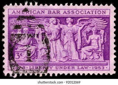 UNITED STATES - CIRCA 1953: A 3 cents stamp printed in the United States shows Section of Frieze, Supreme Court Room, American Bar Association, 75th anniversary, circa 1953