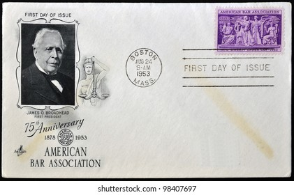 UNITED STATES - CIRCA 1953: A postcard printed in USA shows Section of Frieze, Supreme Court Room, American Bar Association and portrait of James O. Broadhead, circa 1953