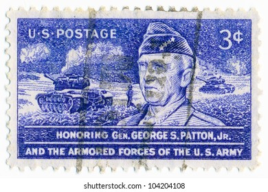 UNITED STATES - CIRCA 1953: A stamp printed in the United States, shows Gen. George S. Patton, Jr., and Tank in Action, circa 1953