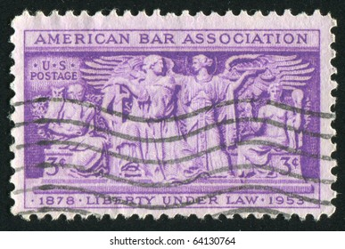 UNITED STATES - CIRCA 1953: stamp printed in United states, shows Section of Frieze, Supreme Court Room, circa 1953